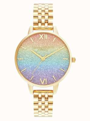 Olivia Burton   Rainbow Glitter Dial   Gold Bracelet   OB16RB23