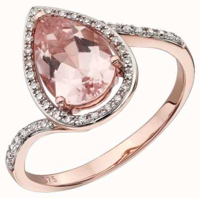 Elements Gold 9ct Rose Gold Large Morganite Diamond Ring Size EU 54 (UK N ) GR563P 54