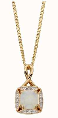Elements Gold 9ct Y/g Opal Diamond Twist Bail Pend GP2233W
