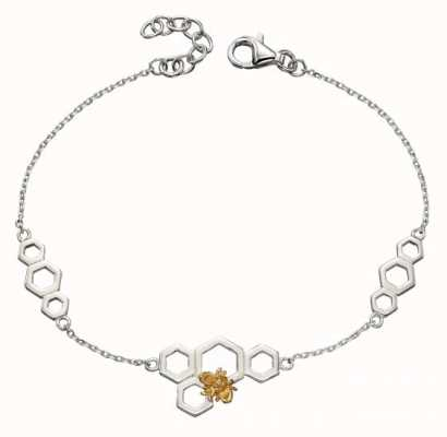 Elements Silver Yellow Gold Plate Bee Honey Comb Bracelet B5145