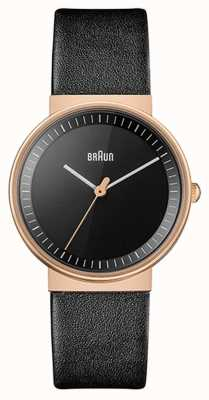 Braun Women's | Classic | Black Leather Strap | Black Dial | Rose BN0031RGBKL