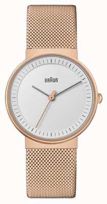 Braun Women's | Classic | Rose Gold PVD Mesh | White Dial BN0031RGMHL