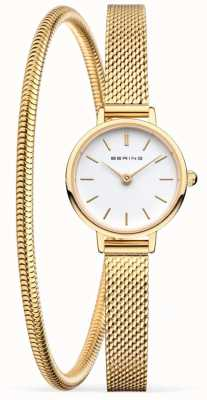 Bering Mothers Day Gift Set   Gold Mesh Watch And Bracelet 11022-334