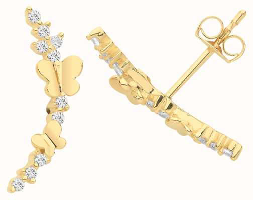 Treasure House 9ct Gold Butterfly Cz Stud Earrings ES1655