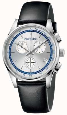 Calvin Klein | Men's Completion | Black Leather Strap | Silver Dial KAM271C6