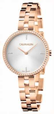 Calvin Klein Elegance | Rose Gold PVD Bracelet | Silver Dial KBF23146