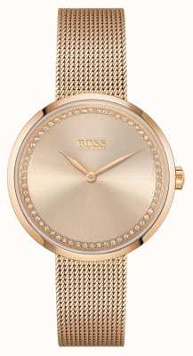 BOSS | Women's Praise |Rose-Gold Steel  Mesh Bracelet | Rose Dial 1502548