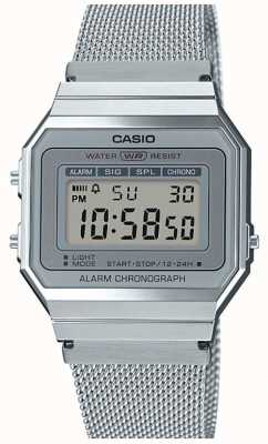 Casio | Vintage | Steel Mesh Bracelet | Stop-Watch | LED Backlight A700WEM-7AEF