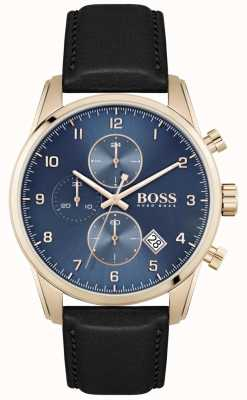 BOSS Skymaster | Men's Black Leather Strap | Blue Dial 1513783