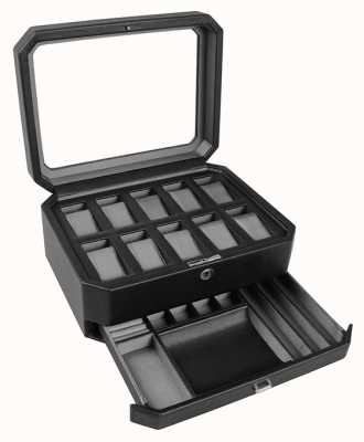 WOLF Windsor Black/Grey 10Pc Watch Box With Drawer 458629
