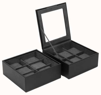 WOLF Stackable Watch Tray Black 6Pc Set Of 2 319603