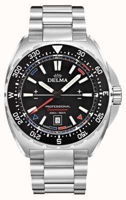 Delma Oceanmaster Quartz | Stainless Steel Bracelet | Black Dial 41701.676.6.038