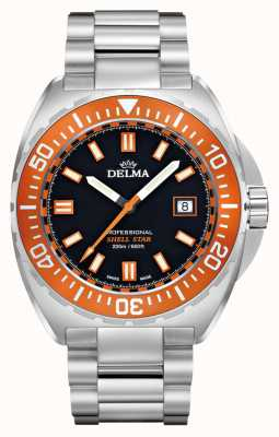 Delma Shell Star Quartz | Stainless Steel Bracelet | Orange Bezel 41701.676.6.151