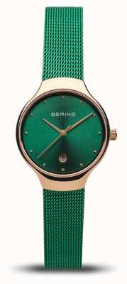 Bering Women's Classic | Green Mesh Strap | Polished Rose Gold 13326-868