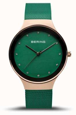 Bering Women's Classic | Polished Rose Gold | Green Mesh Strap | 12934-868