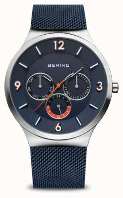 Bering Men's Classic | Brushed Silver | Blue Mesh Strap | Blue Dial 33441-307