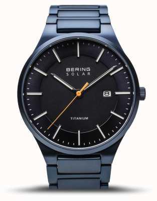Bering Men's Titanium | Solar | Brushed Blue | Blue Titanium Strap 15239-797