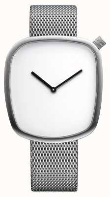Bering Classic| Pebble | Brushed Silver | Square Dial | Silver Mesh 18040-004