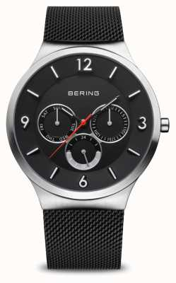 Bering Men's Classic | Brushed Silver | Black Mesh Bracelet 33441-102