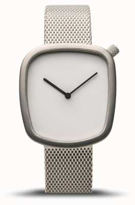 Bering Classic | Pebble | Brushed Silver | Silver Mesh | White Dial 18034-004