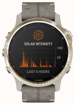 Garmin Fenix 6S Pro Solar | Light Gold Shale Grey Suede Strap 010-02409-26
