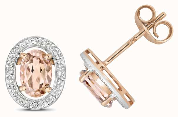 Treasure House 9ct Rose Gold Diamond & Morganite Halo Studs ED267RM