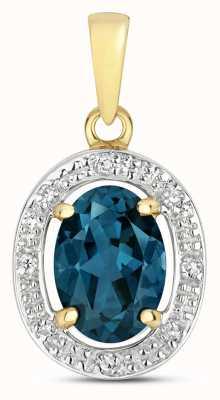 James Moore TH 9k Gold Diamond & London Blue Topaz Halo Pendant PD251LB