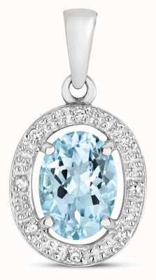 James Moore TH 9k White Gold Diamond & Aquamarine Halo Pendant PD251WAQ
