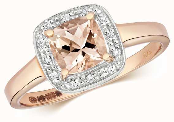 Treasure House 9ct Rose Gold Diamond & Cushion Morganite Ring RD473RM