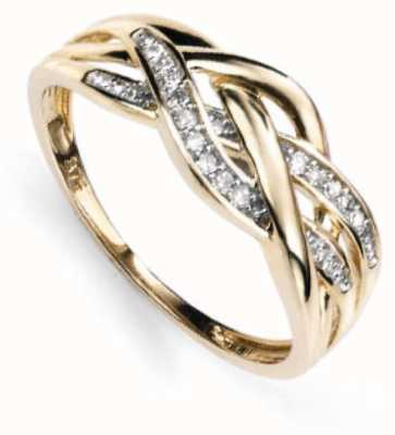 Elements Gold 9ct Yellow Gold Diamond Three Strand Criss-Cross Ring GR377