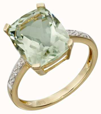 Elements Gold 9ct Yellow Gold Green Amethyst And Diamond Cocktail Ring SizeEU 56 (UK O1/2- P) GR543G 56