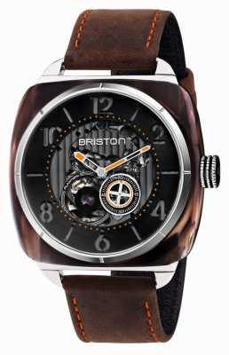Briston Streamliner Skeleton Auto | Amber Acetate | Brown Leather 201042.SA.BR.1.CH