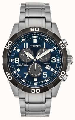Citizen Brycen Super Titanium Perpetual Calendar Blue Dial Watch BL5558-58L