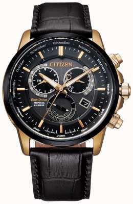 Citizen Men's Strap Perpetual Calendar Black & Rose-gold Black Leather Watch BL8156-12E