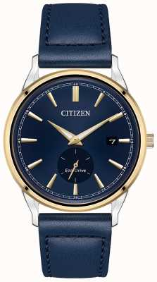 Citizen Men's Strap Eco-Drive Stainless-steel Gold IP Blue Leather Strap Watch BV1114-18L
