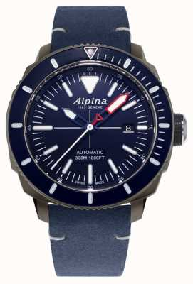 Alpina Seastrong Diver 300 Automatic | Navy Blue Leather Strap | AL-525LNN4TV6
