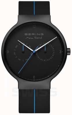 Bering Men's Max Rene | Black Silicone Strap | Black/Blue Dial 15542-428