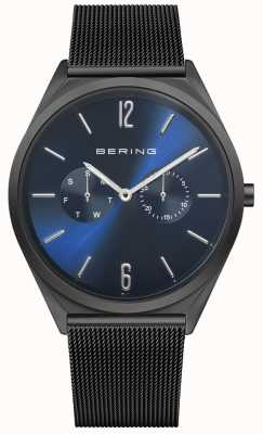 Bering Ultra Slim | Black Steel Mesh Bracelet | Blue Dial 17140-227