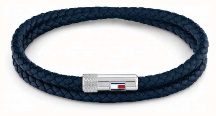 Tommy Hilfiger Men's Casual | Blue Double Wrap Leather Bracelet 2790264S