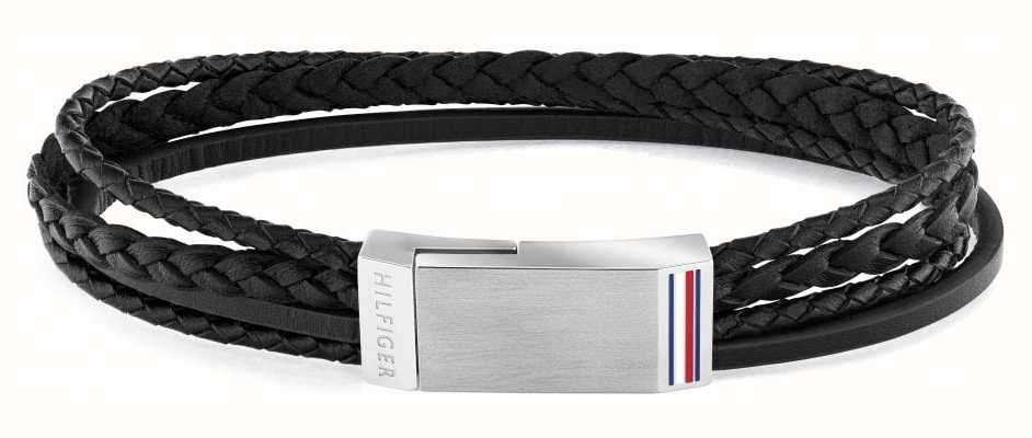 Tommy Hilfiger Men's Casual | Black Multi-Wrap Plaque Bracelet 2790281