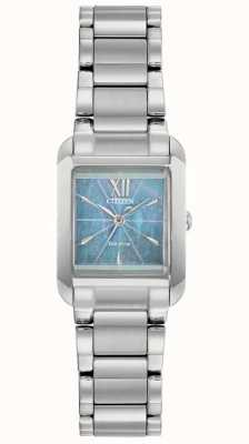 Citizen Ladies L Eco-Drive Square Mother of pearl Dial Watch EW5551-56N
