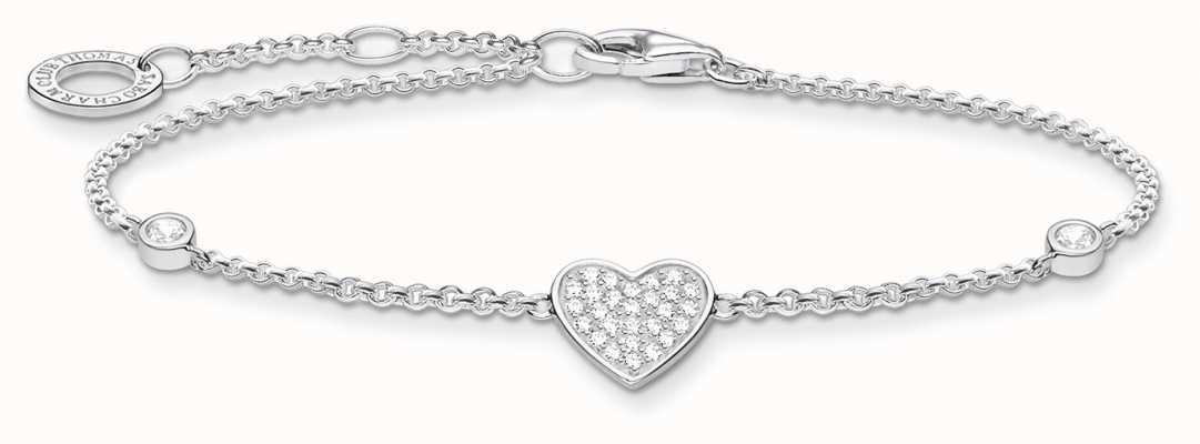 Thomas Sabo Silver Stone Heart Bracelet | 925Sterling Silver | 16-19cm A1992-051-14-L19V