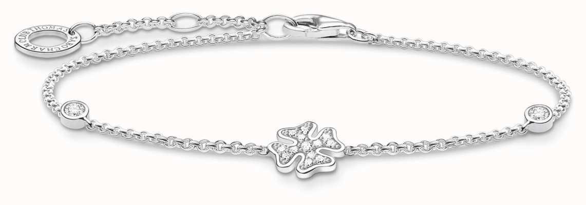 Thomas Sabo Silvr Cloverleaf Stone Bracelet | 925 Sterling Silver | A1993-051-14-L19V