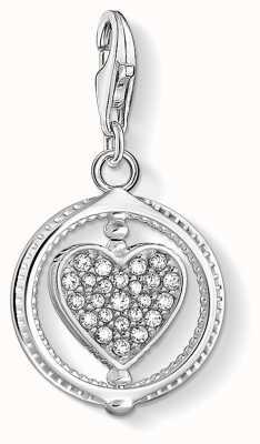 Thomas Sabo Charming | Sterling Silver Heart Charm Pendant | White Stones 1858-051-14