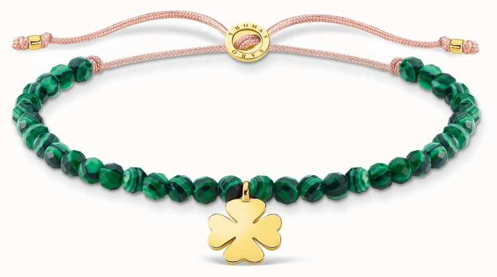 Thomas Sabo Charming | Gold Cloverleaf Malachite Beaded Tie Bracelet A1983-140-6-L20V