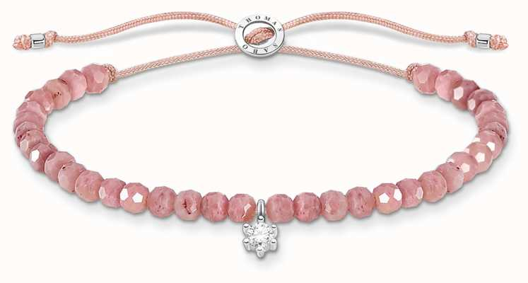 Thomas Sabo Charming | Silver Stone Rose Quartz Beaded Tie Bracelet A1987-401-9-L20V