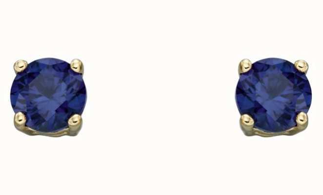 Elements Gold 9k Yellow Gold Sapphire September Stud Earrings GE2334