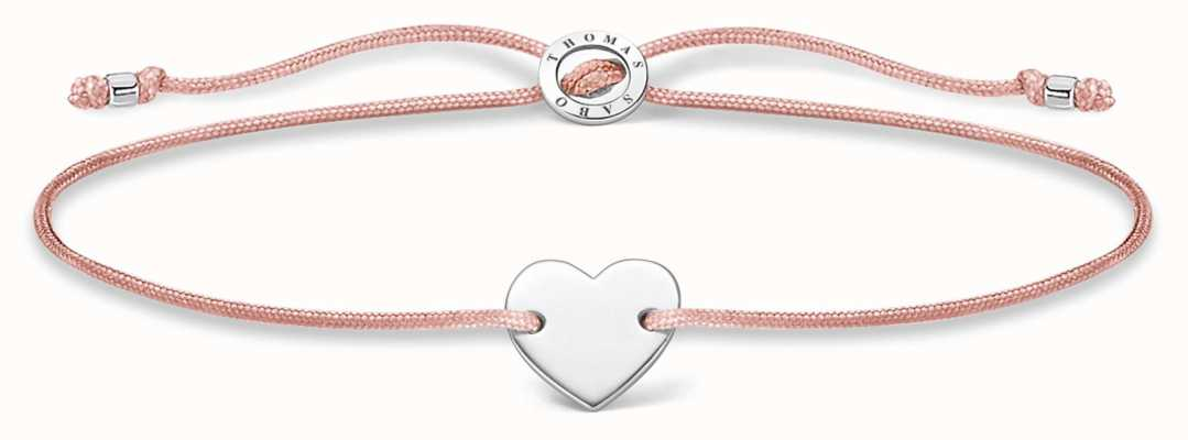 Thomas Sabo Pink Nylon Silver Heart Bracelet A1996-173-19-L20V