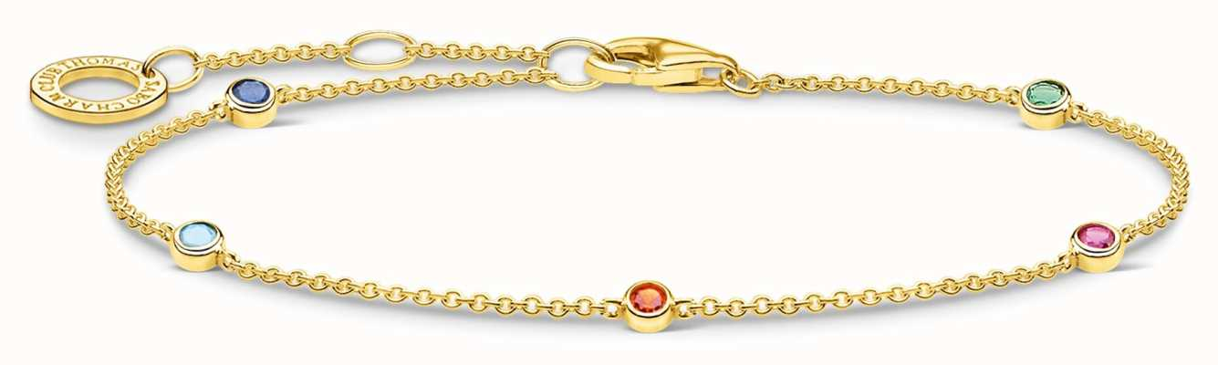 Thomas Sabo 18k Yellow Gold Plated Colourful Stones Bracelet A1999-488-7-L19V