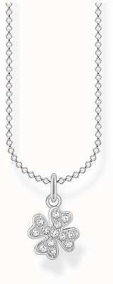 Thomas Sabo Sterling Silver Pave Cloverleaf Necklace KE2036-051-14-L45V